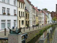 Wasserstrasse in Wismar mit Schwein